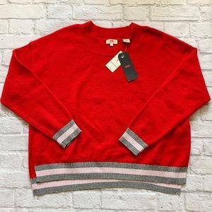 Levis Women's soft red sweater striped cuff NWT LG